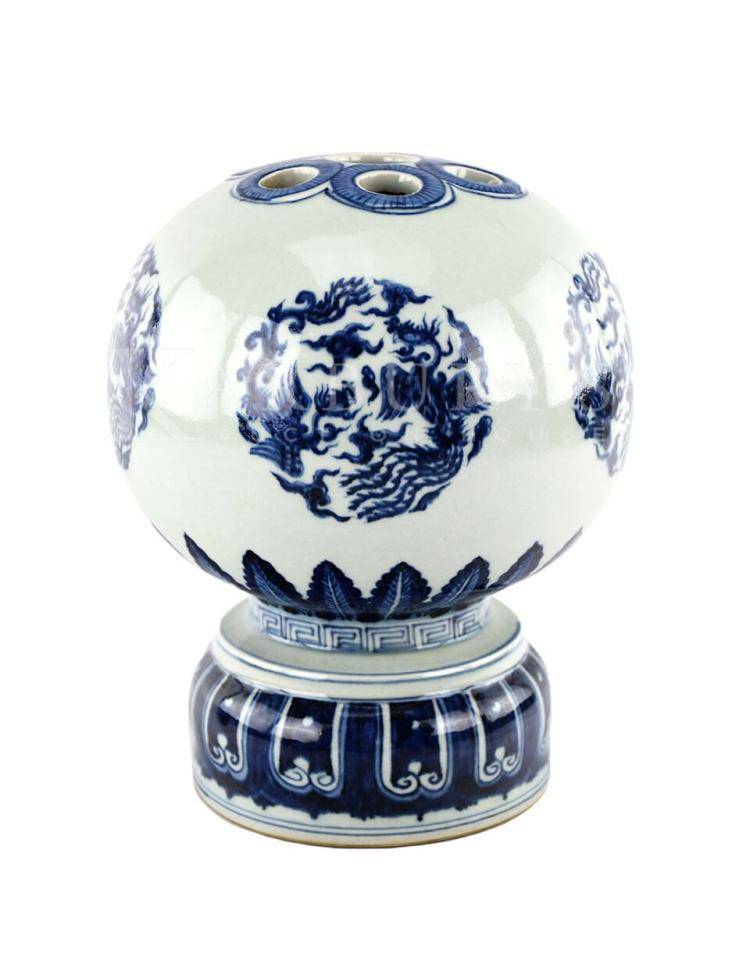 A Blue and White Porcelain Phoenix Censer Jar with a Xuande Mark