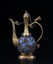 A GILT-BRONZE AGATE-INLAID WINE POT