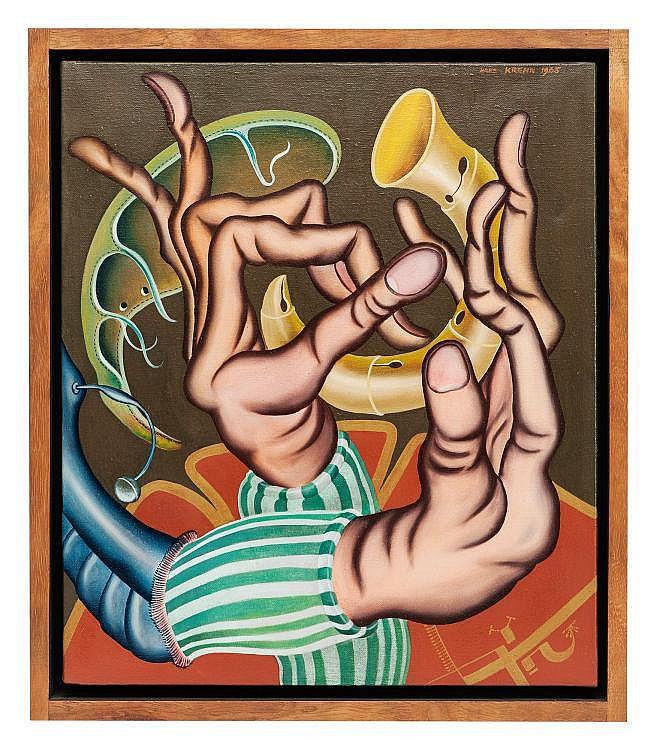 «Zwei Hände mit einer kleinen Trompete spielend