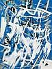 «Auf Blau (on blue)». Mixed media on cardboard,, Franz Fedier, Click for value