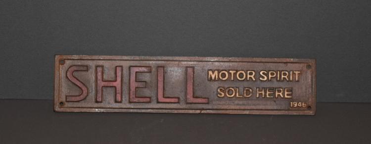 1946 Cast Iron Shell Motor Spirit Sign