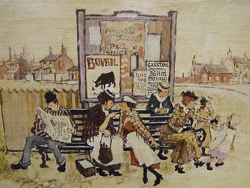 An oil on board, Margaret Chapman, 'Garstang folk
