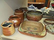 A set of Studio pottery and vintage glazed