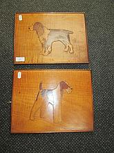 A pair of early 20th century treen marquetry