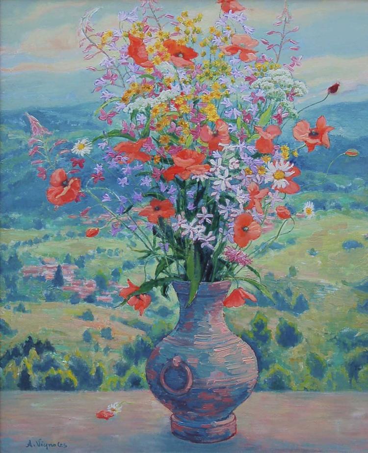 Bouquet sur fond de paysage