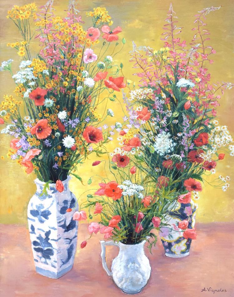 Bouquets de coquelicots et fleurs des champs