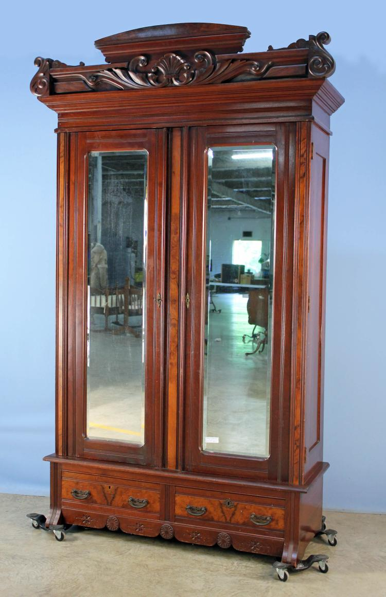 Walnut Victorian Wardrobe W/ Bevel Mirrors C. 1880