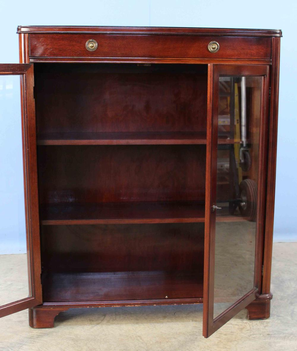 Mahogany Bookcase W Two Glass Doors