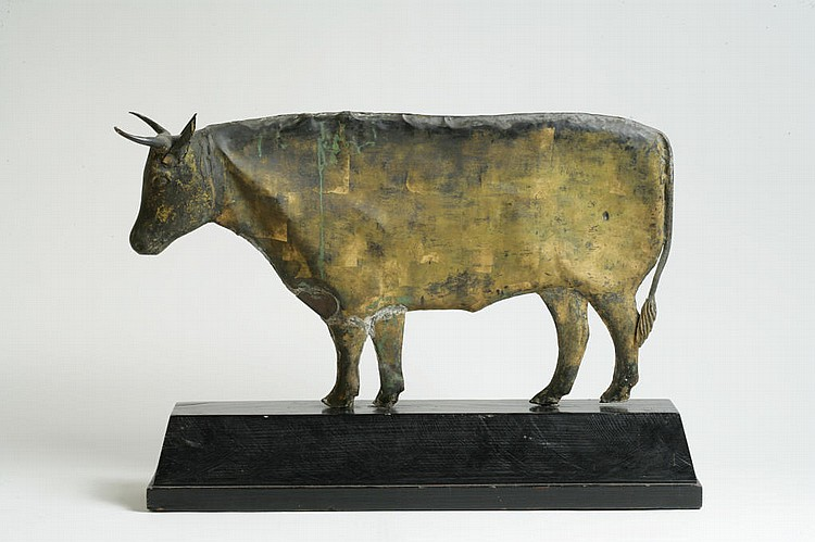 Gilt Copper Weathervane Depicting a Steer