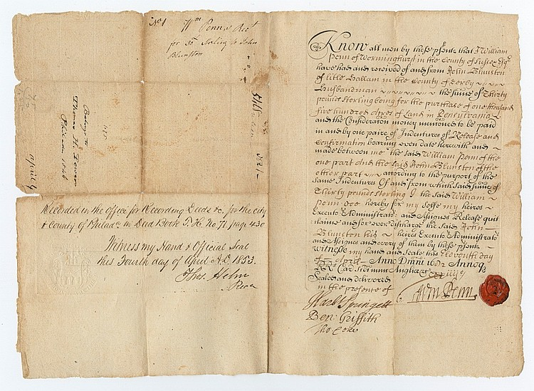 William Penn Grants 1,500 Acres to a Founding Member of the Colony
