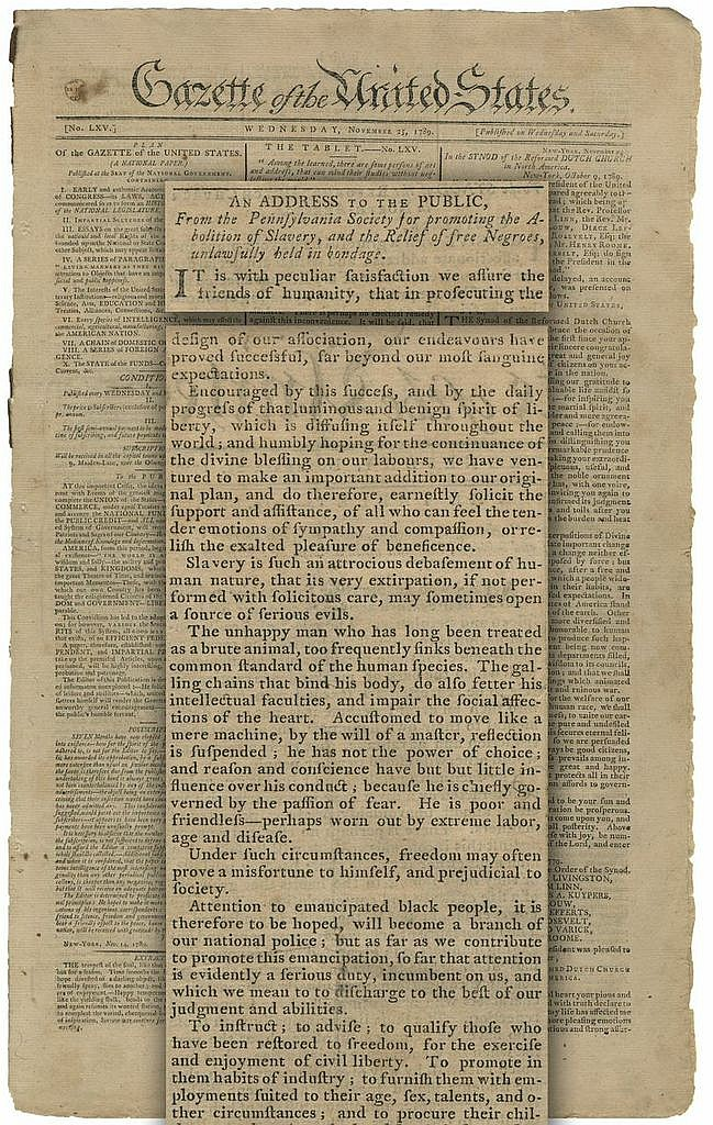 Benjamin Franklin Supports the Abolition of Slavery, Washington Addresses the Reformed Dutch Church and Offers Thanksgiving Thoughts