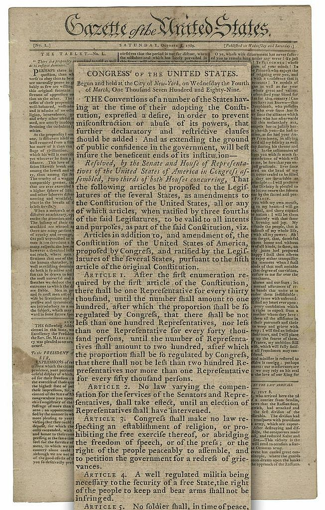 Earliest Obtainable Printing of the Bill of Rights as Submitted to the States for Ratification