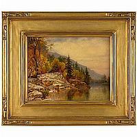Alexander Lawrie (American, 1828-1917), Mountain Lake with Rocky Shoreline in Autumn