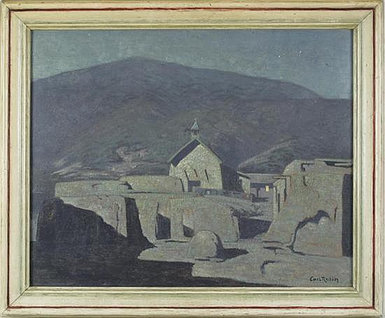 Carl Adolph Persson Redin (Swedish/ American, 1892-1944), An Adobe Church at Sunset