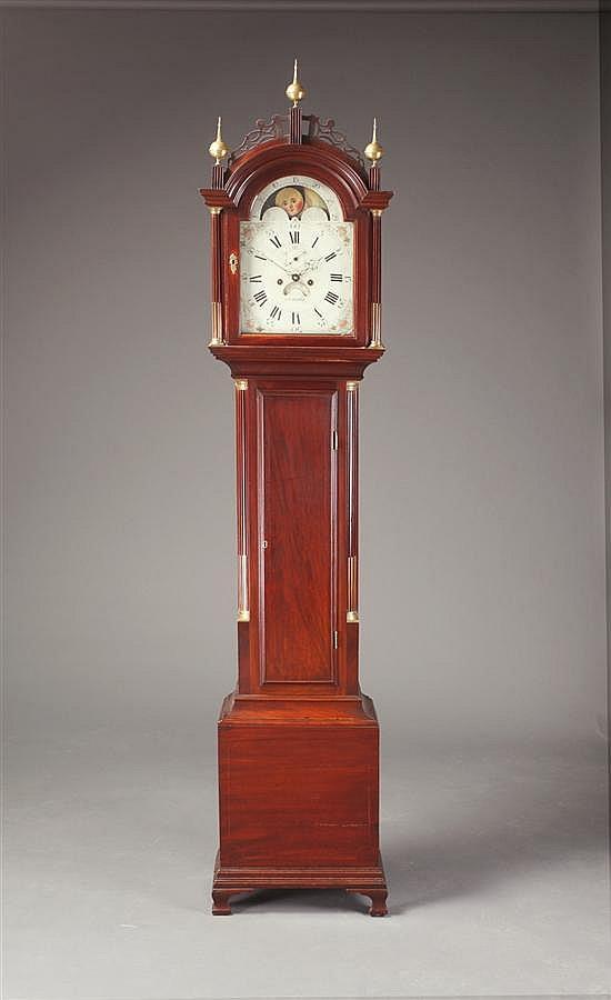 Federal Mahogany Tall Case Clock Aaron Willard (American, 1744-1857)