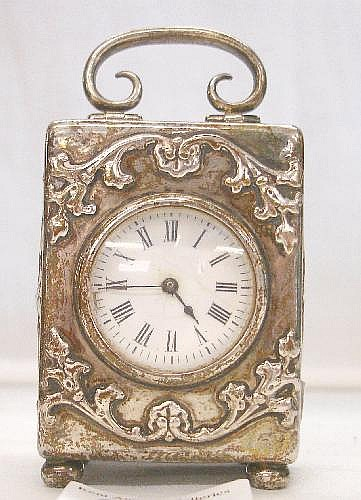 Edwardian Silver Miniature Carriage Clock, French