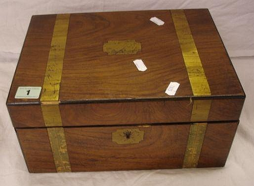 Victorian Walnut Writing Box with broad brass