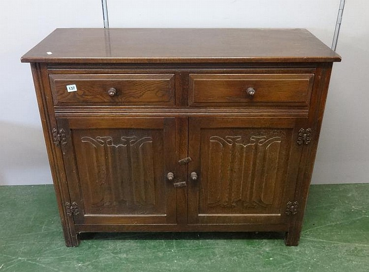 Old Charm Style Oak Sideboard Pair Linen Fold Doors Under 2