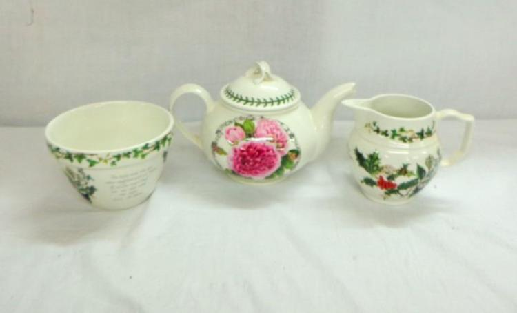 Portmeirion The Holly The Ivy Christmas Pudding Bowl Custard Jug Teapot Limited Edition No 0233 Portmeirion Rose All With Original Boxes 3
