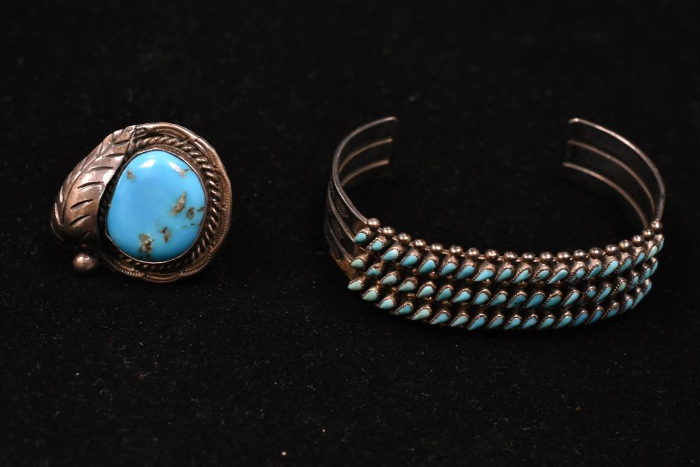 Lot 942: Native American Vintage Ster and Turq Grouping