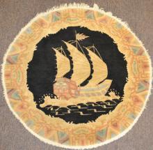 1930's Round Chinese Rug w/ Ship Motif