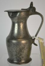 19th Century French Pewter Wine Flagon or Pitcher