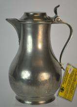 19th Century French Pewter Wine Flagon