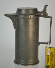 19th Century Flemish (Ghent) Pewter Wine Flagon