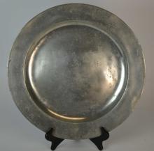 Large 18th C English Pewter Plain-Rim Charger