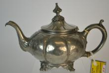 An Ornate 19th Century English Pewter Teapot