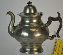 19th Century American Pewter Teapot
