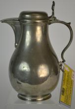 19th Century Dutch Pewter Bulbous Flagon