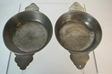 Two similar 18th century French pewter porringers