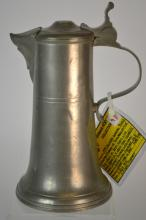 19th Century German Pewter Spouted Flagon