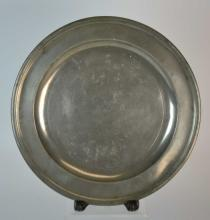 18th C American Pewter Single-Reed Pewter Charger