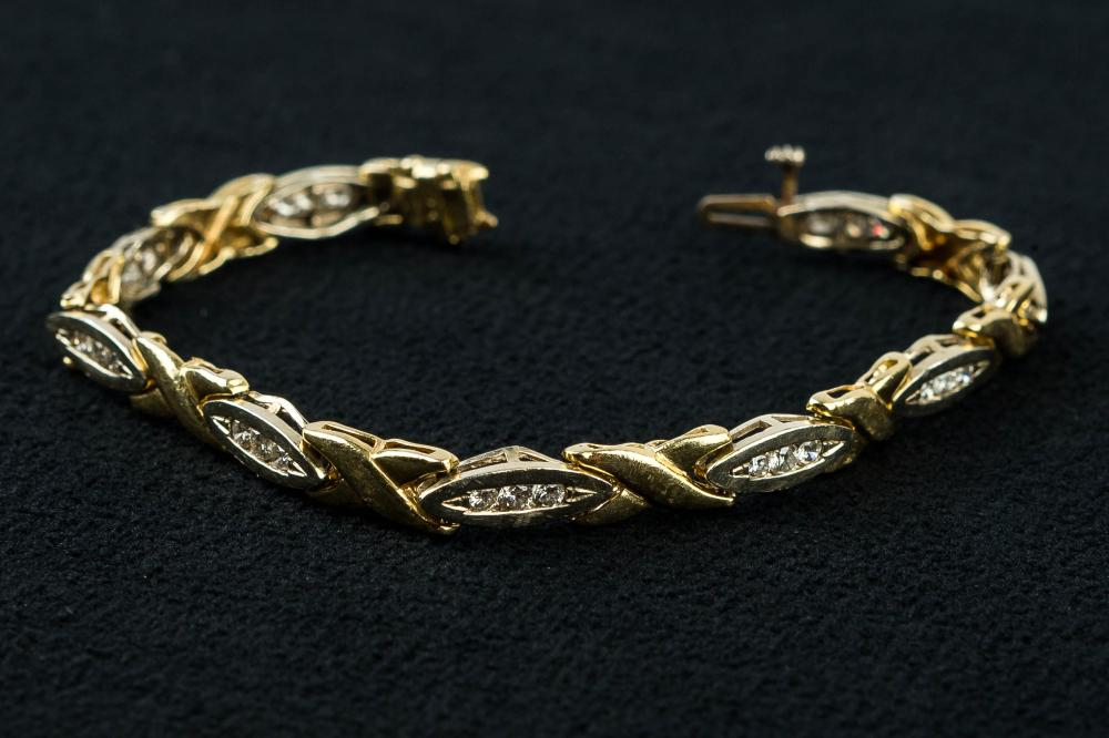14K Diamond and Gold Tennis Bracelet