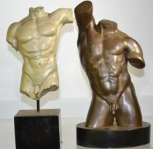Two Male Nude Statues