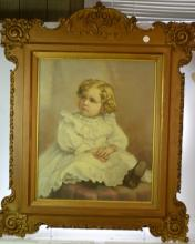 Large Framed Tinted Photograph of a Child