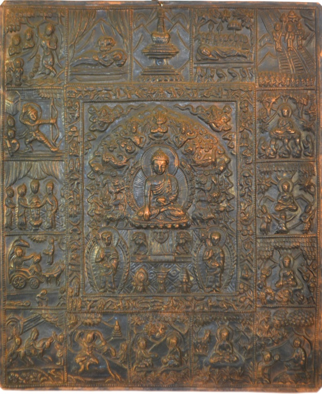 Copper and Brass Buddhist Wall Plaque