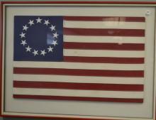 Framed Thirteen Star American Flag