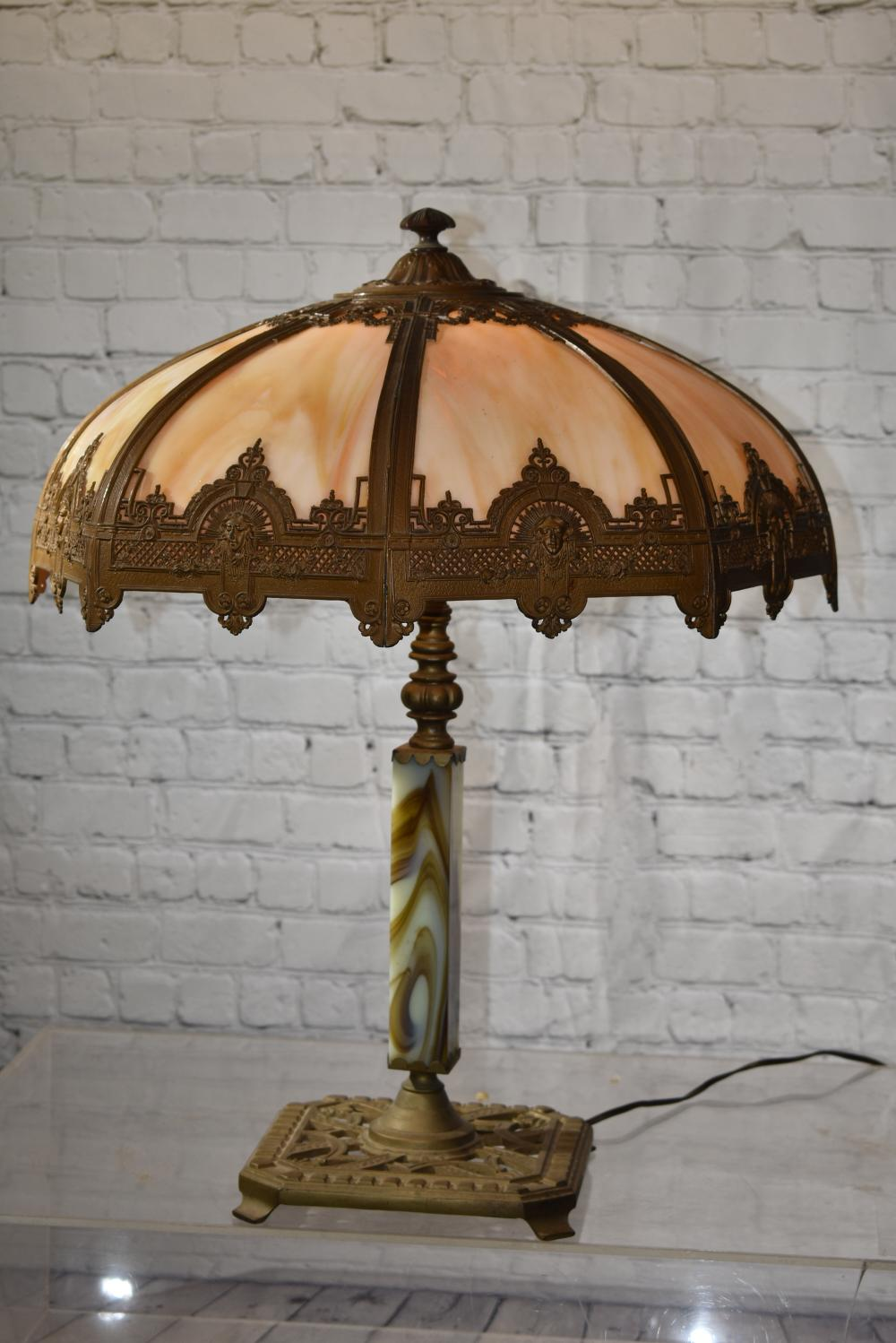 Brass And Slag Glass Table Lamp