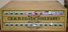 Metal J & P Coats Boil Fast Spool Cabinet