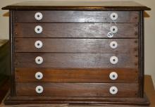 19th C Walnut John N Leonard's Silk Spool Cabinet