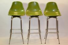 Three Mid-Century Modern Swivel Bar Chairs