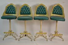 Four Vintage Stools with metal base