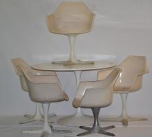 5 Burke Inc Mid Century Modern Chairs & Table