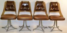 Four Vinyl Pleated Back Chairs