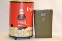 Cocoa Cola Cooler and Military Waste Basket