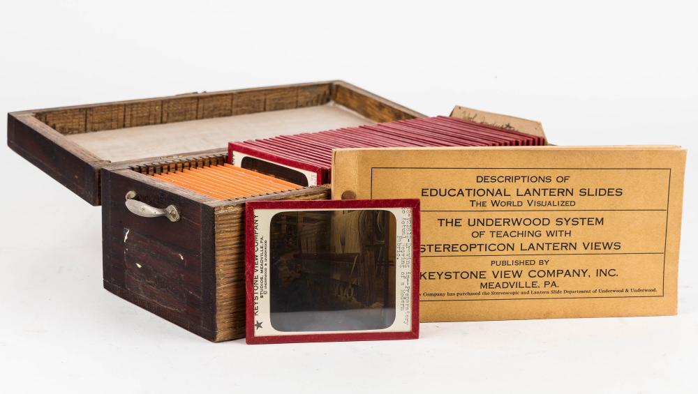 38 Lantern Slides on Wool Industry in Wood Case