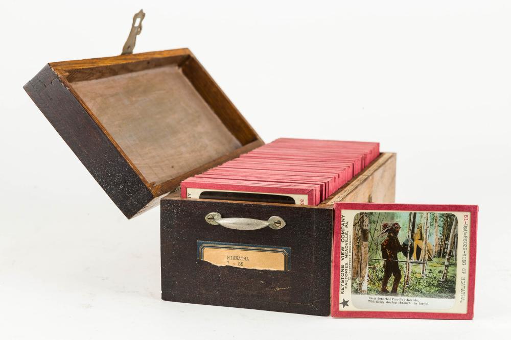 55 Lantern Slides on Hiawatha in Wood Case